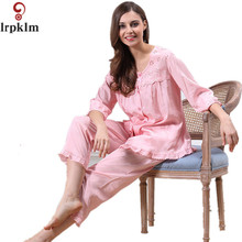 Brand Spring Autumn Small Hollow Cotton Women's Pajamas Set Sleepwear Girls Pyjamas Mujer Lady Casual Home Clothing L XL SY51