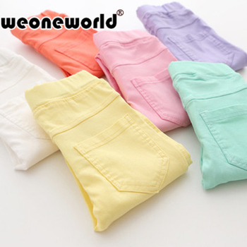 WEONEWORLD 2018 Summer Elestic Waist Children Kids Pants Baby Girl Jeans Candy Color Solid Causal Jeans For Girls Leggings
