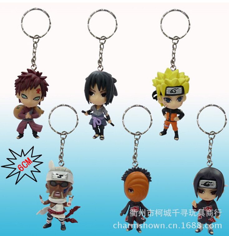 6pcs/set Naruto Keychain Action Figures Anime PVC brinquedos Collection Figures toys AnnO00637N hot sale 26cm anime shanks one piece action figures anime pvc brinquedos collection figures toys with retail box free shipping
