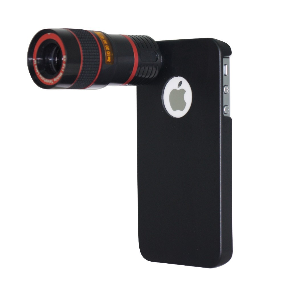 For iphone 4 4s lens kit and wallet , wide angle fisheye 2x telephone lens 8x zoom lens tripod and case 2cl-24 (9)