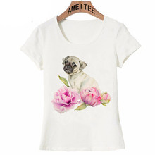 6cead2dd4be0 2018 Summer Fashion Pug and Pink Peonies Watercolor Kawaii T-Shirt Newest  Women T Shirts Funny Dog Prnt Casual Tops Hip Hop Tee