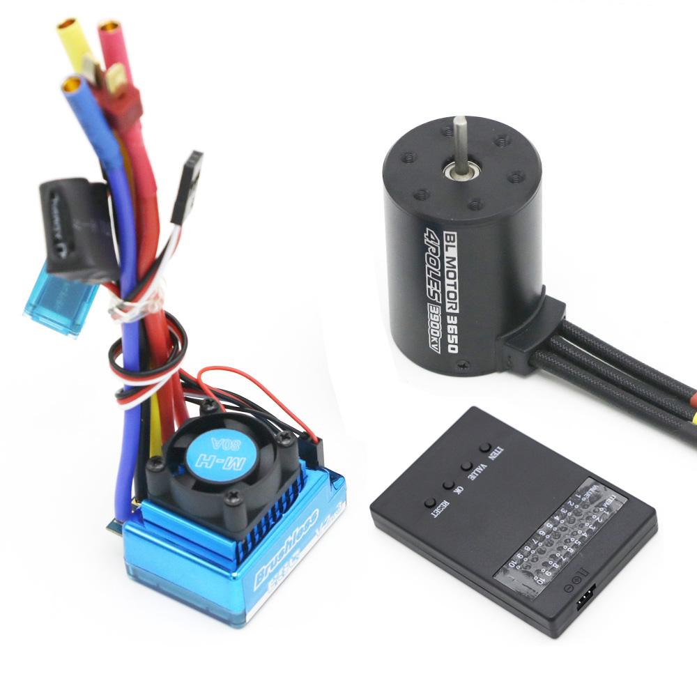 3650 3900KV Brushless Motor & Waterproof 25A 35A 45A 60A 80A 120A Brushless ESC with Program Car Combo for RC Car RC Boat Part skipping rope