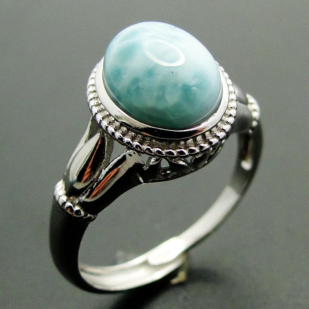 New Arrival Natural Larimar Rings Antique Designs 925 Sterling Silver Jewelry Larimar Wedding Rings Women Adjustable Rings Size