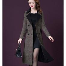 Большие размеры, зимнее шерстяное пальто для женщин, Осеннее шерстяное пальто высокого качества, женское длинное кашемировое пальто, толстые шерстяные куртки 16-937