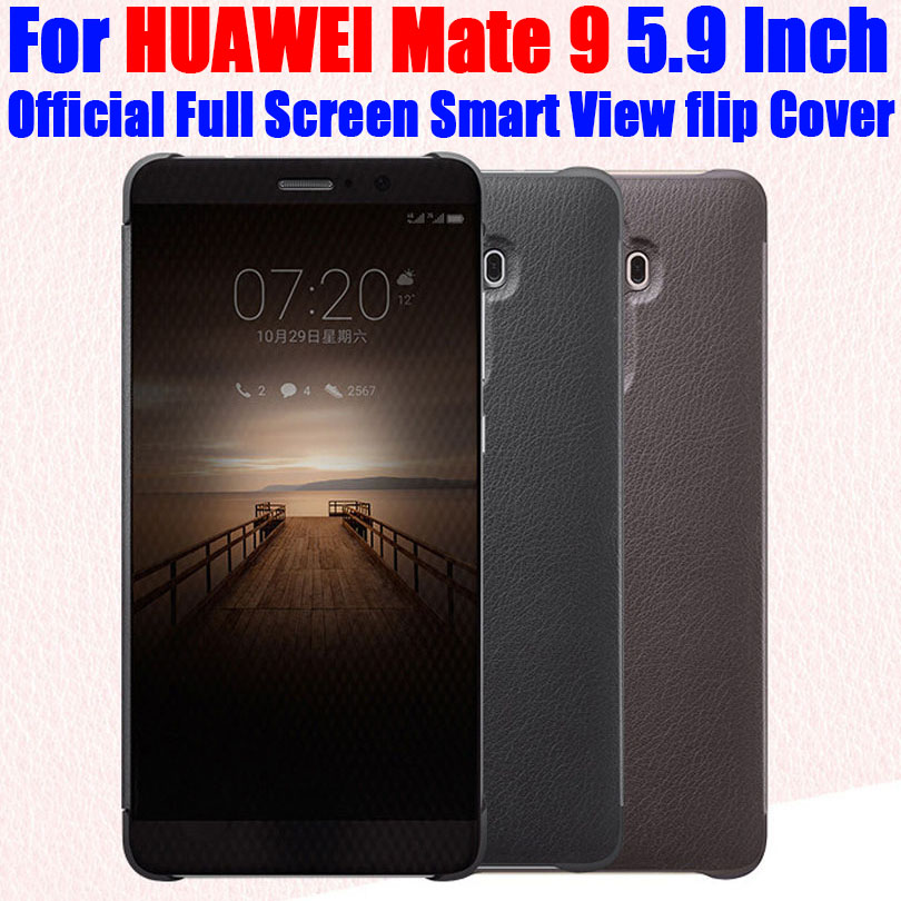 Capinha Para HUAWEI MATE 9 Original 1: 1 Oficial Tela Cheia Smart View Call ID Leather flip Cover para HUAWEI Mate9 5.9 Inch HM92