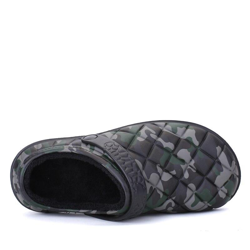 a93c81075a67 New Winter Men Sandals 2017 New Croc Men Beach Shoes Camouflage Slippers  plush Warm Flip Flop Plush Garden Sandals Clogs Outside-in Men s Sandals  from Shoes ...