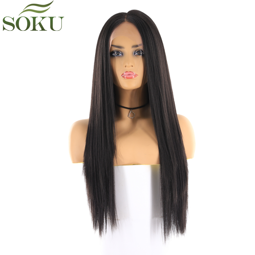 SOKU Wigs Lace-Front Synthetic 26inch Middle-Part Black Straight Women for 130%Density