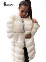 Женские зимние теплые пальто из искусственного меха, женская элегантная белая куртка, пальто с длинным рукавом, верхняя одежда, новые женск...