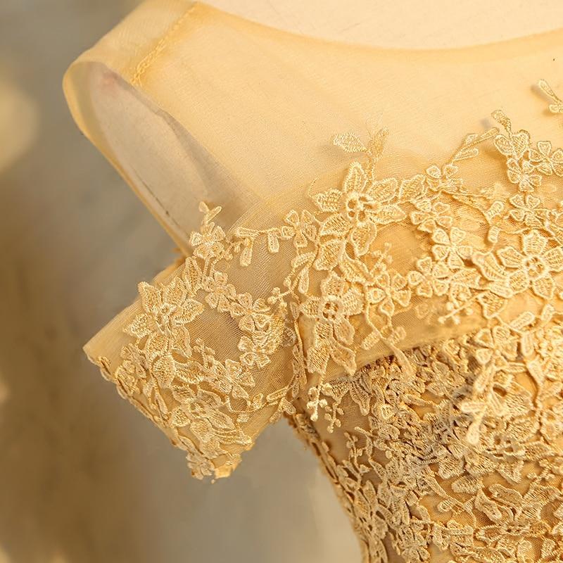 Aswomoye Elegant Short Evening Dress 2018 New Stylish Illusion O-Neck Wedding Party Dress Sleeveless with Bow robe de soiree 6