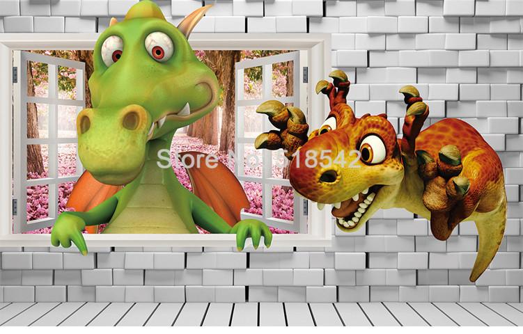 HTB1ht0DQXXXXXXwaXXXq6xXFXXXB - Custom Photo Wallpaper 3D Cartoon Cute Dinosaur Brick Wall Children Room Bedroom Background Wall Decor Mural Wallpaper Kids