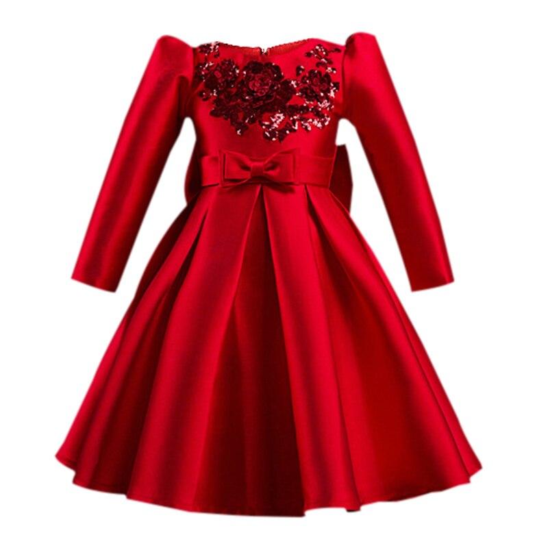 2017 automne Winte mode filles robes rouge fête robe enfants filles robes princesse Costumes filles soirée bal enfants vêtements