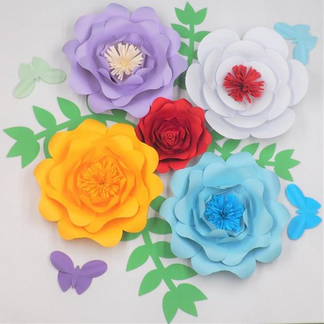 Diy giant paper flowers backdrop half made full kits with leaves diy giant paper flowers backdrop half made full kits with leaves butterflies wedding baby nursery home mightylinksfo