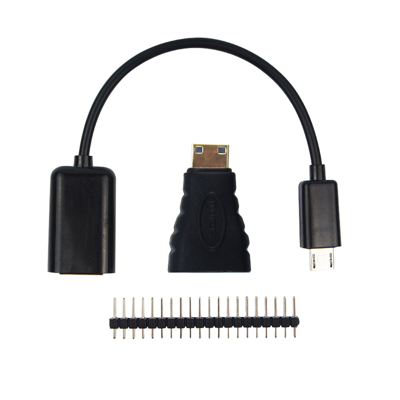 3-ը 1-ին Raspberry Pi Zero Adapter Kit Mini HDMI to HDMI adaptor + Micro USB to USB Female OTG մալուխ + 20 փին Արական GPIO Header RRI 0