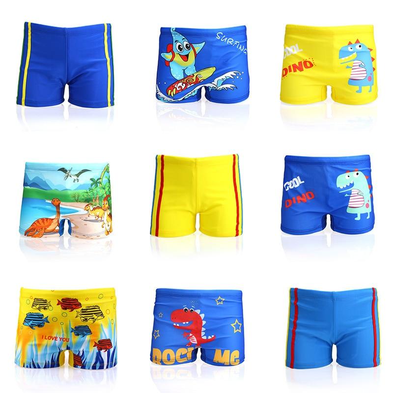 Купальные трусы для маленьких мальчиков, мультяшный купальный костюм с принтом динозавра, рыбы, детские шорты для плавания, пляжная одежда ...