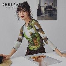 Cheerart Mesh Vintage kırpma bluz uzun kollu yaz üst baskı disko dans Bodycon tasarımcı bluzu bayan giyim