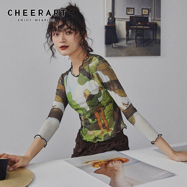 Cheerart רשת בציר יבול חולצה ארוך שרוול קיץ הדפסה העליונה ריקודי דיסקו Bodycon מעצב למעלה גבירותיי