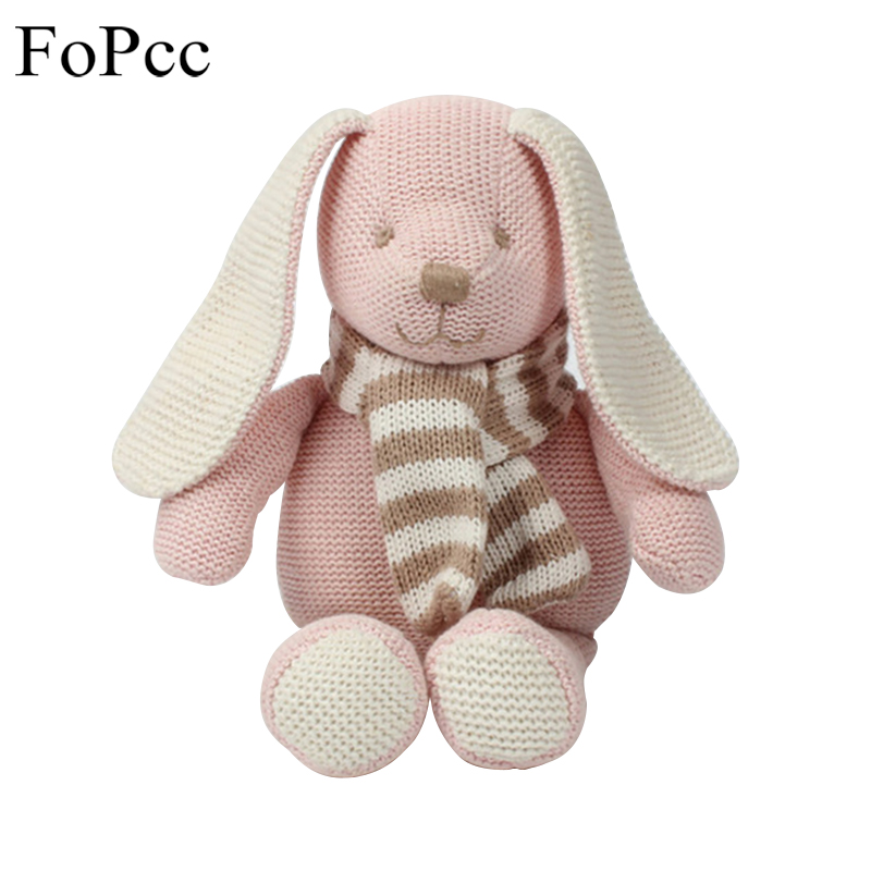 FoPcc 25cm Pink Wool Cloth Rabbit Doll Pink PP Cotton Yarn Cloth Baby Comfort Doll Bedroom Decor Animal Plush Toys cute rabbit animal shaped soft cloth hand puppet white pink