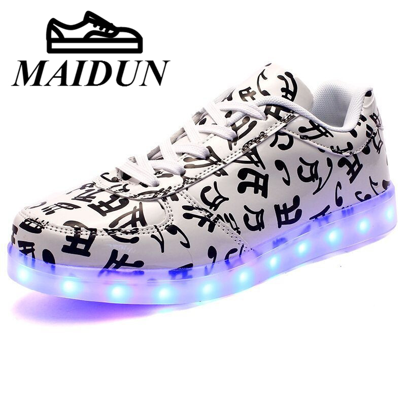 LED shoes women flat with tenis led Light up Luminous Shoes  Leisure casual Unisex USB Charge Flash lace up zapatos mujer flat
