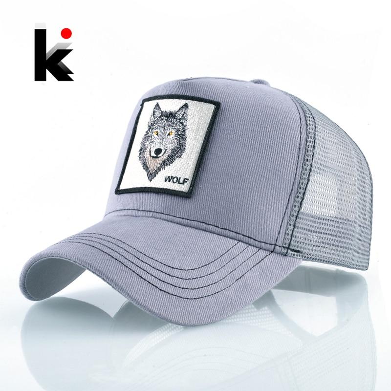 Fashion Snapback Trucker Hat For Men Summer Breathable Mesh Baseball Cap Women Wolf Embroidery Hip Hop Casquette Boys Kpop Bone