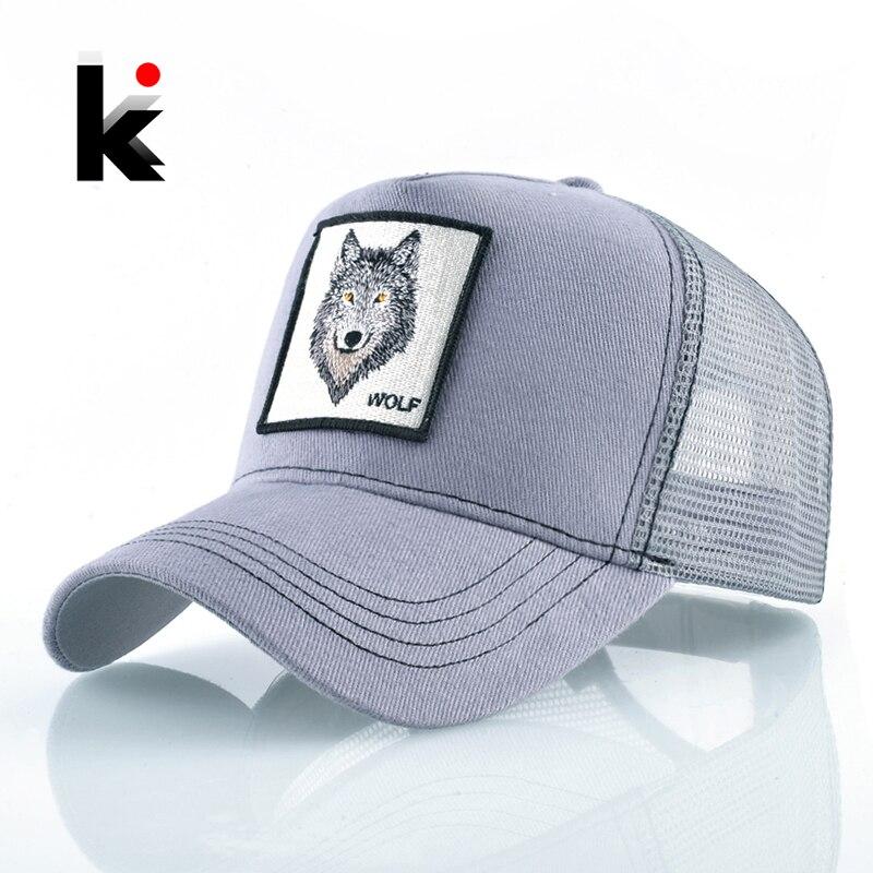 Mode Hysterese Trucker Hut Für Männer Sommer Mesh-Baseball Kappe Frauen Wolf Stickerei Hip Hop Casquette Jungen Kpop Knochen