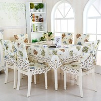 Tree Leaves Table Cloth 13pcs 6 Chair Seat And Cushion Cover 1 Dinner Table Cloth Best