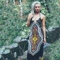 Колокольчик 2017 Летние Женщины Dress Рукавов Sexy Beach Dress Спинки Печати Мода Dress Женщины Bohemain Платья Плюс Размер XXL