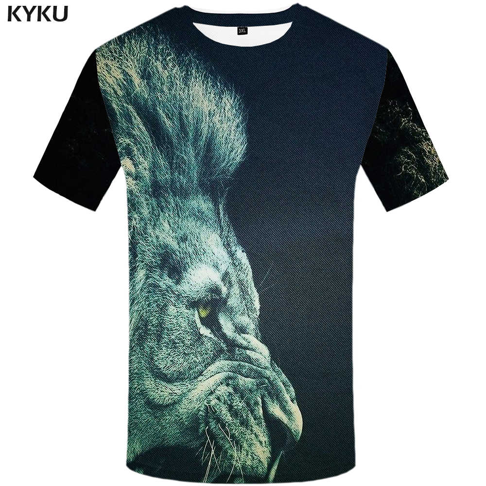 Kyku Leeuw T-shirt Mannen Animal Tshirt Sex Grappige T-shirts Slanke 3d Print T-shirt Hiphop Tee Cool Mens kleding 2018 Nieuwe Zomer Top