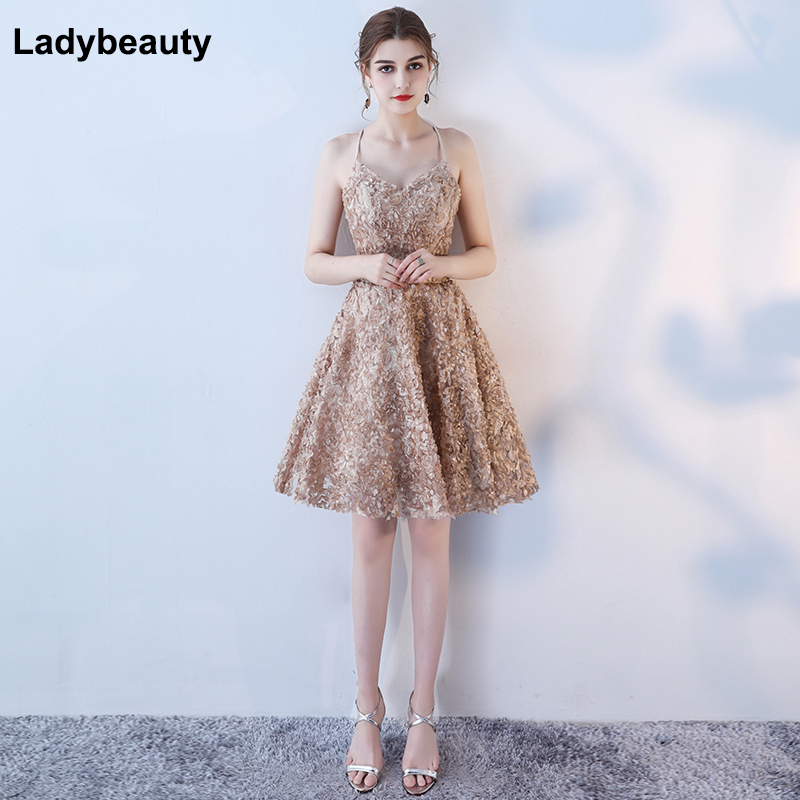 Ladybeauty 2018 lace dress Party Prom Gown Formal Short Evening Dress Sweetheart Simple Style Backless Gown