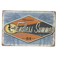 Vintage Metal Placa de letrero de estaño arte de pared Poster Café Bar hoja sin fin verano