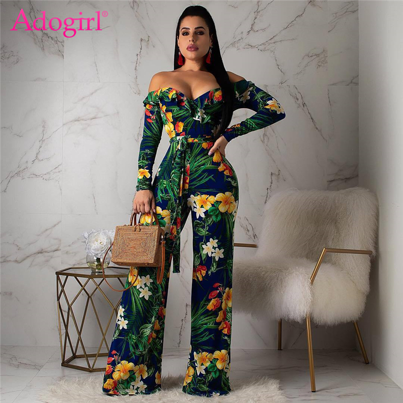 Adogirl Floral Tropical Print Ruffle Off Shoulder Loose   Jumpsuit   Women Sexy V Neck Long Sleeve Casual Romper with Belt Playsuits