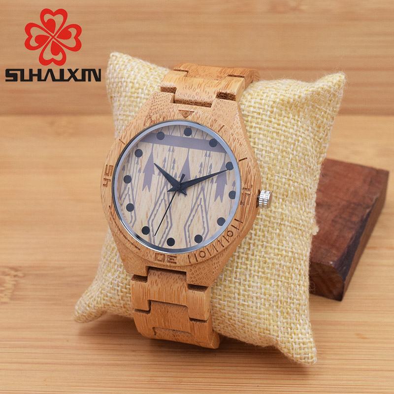 SIHAIXIN Nature Handmade Wood Men's Watch With Unique Design Vintage Wooden Band Quartz Wristwatch For Male Sport Clock Gift Box vintage wooden wristwatch full wood case analog classic zebra pattern band male female clock simple sport quartz watch relogio