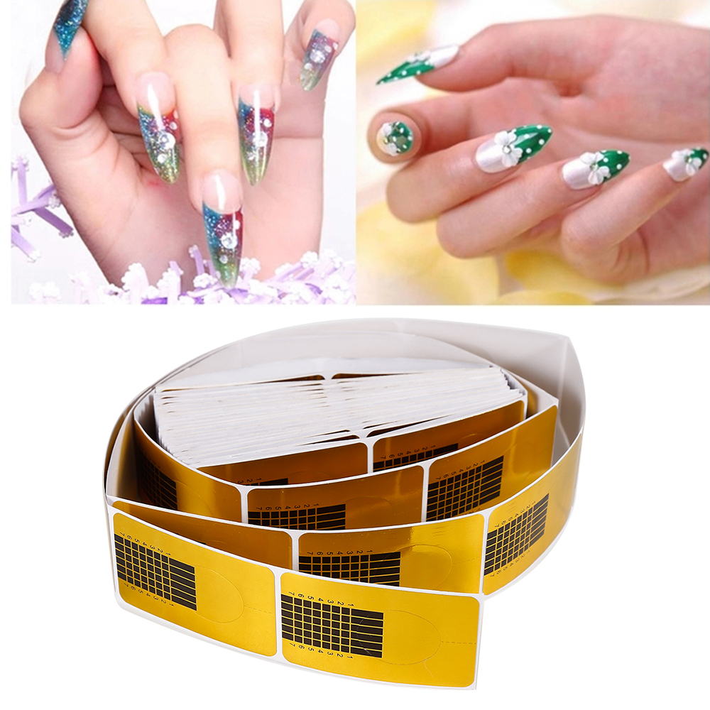 ELECOOL 100/50pcs Golden Nail Art French Tips Sculpting Acrylic UV Gel Tips Extending Nail Tools Extension Forms Guide DIY Kit