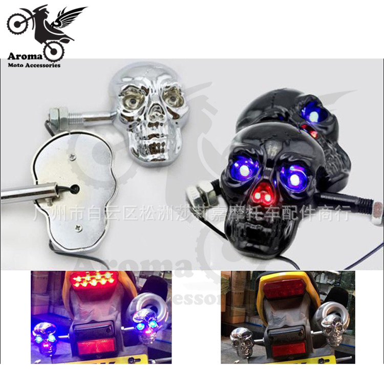 4 model available black silver skull moto turn signal light Skeleton motorbike flasher ghost motorcycle indicator LED scooter