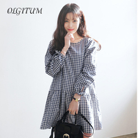 2017 Fashion Sweet Oversized Pleated Plaid Women Dress Ruffles Checkered Long Sleeve Bow Tie Loose Casual