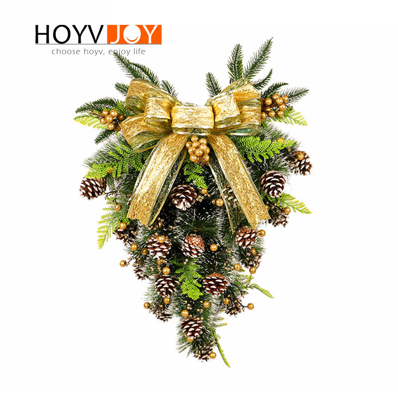 Upside Down Christmas Tree Decorating Ideas.Us 48 34 Hoyvjoy Mini Christmas Tree Artificial Upside Down Xams Inverted Tree Shaped Decorations Hanging Ornaments Layout Christmas 60cm In Trees