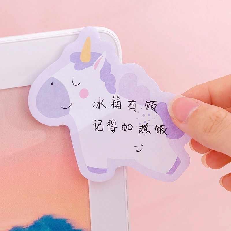Ellen Brook 1 Pcs เกาหลี Kawaii Rainbow Unicorn Sticky Note Creative โพสต์ Notepad DIY Memo Pad เครื่องเขียนโรงเรียน