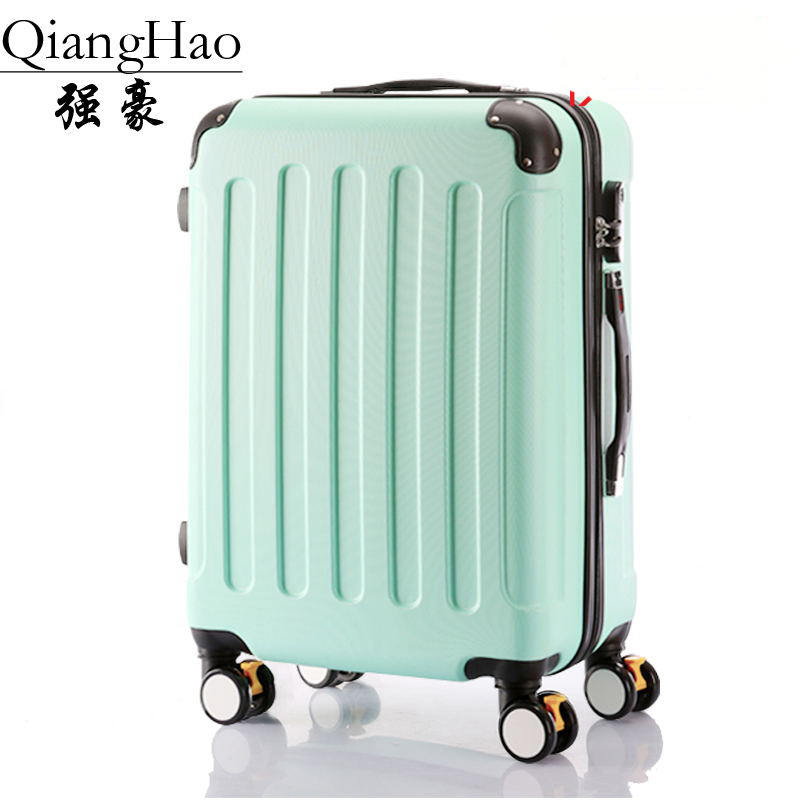 QiangHao Classic striped patch Trolley suitcase/rolling spinner wheels Pull Rod luggage/Women Girl traveller case boarding bag spinner wheel dora a dream lash women trolley case lightweight pull rod trunk cartoon travel suitcase girls boys rolling luggage