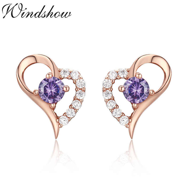 94715c4c9fff Cute 925 Sterling Silver Rose Cold Color Love Heart Set Purple CZ Stud  Earrings For Women
