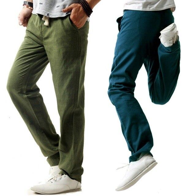 e7ab4b9f9a4 2016 New Style Design Casual Stretch Trouser Summer Men Linen Cotton Pants  Summer Style Track Pants Cargo Pants Men Trousers