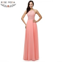Rose Moda Bling Peach Floor Length Evening Dress Thin Straps Crystal Beaded Formal Long Party Dress 2018