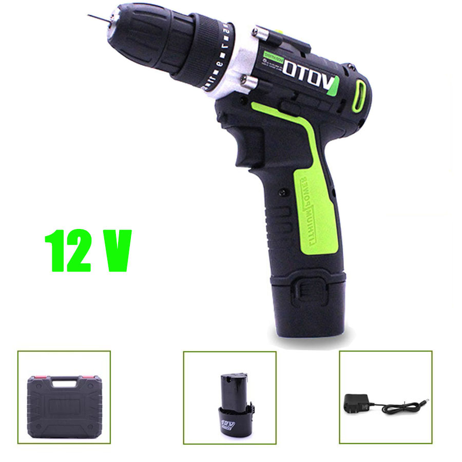 VOTO 12V Battery Rechargeable Cordless Drill Electric Screwdriver Lithium Power Tools Screw Gun Driver Case VT Green Industry coaxial cable video amplifier cctv signal booster bnc balun connectors