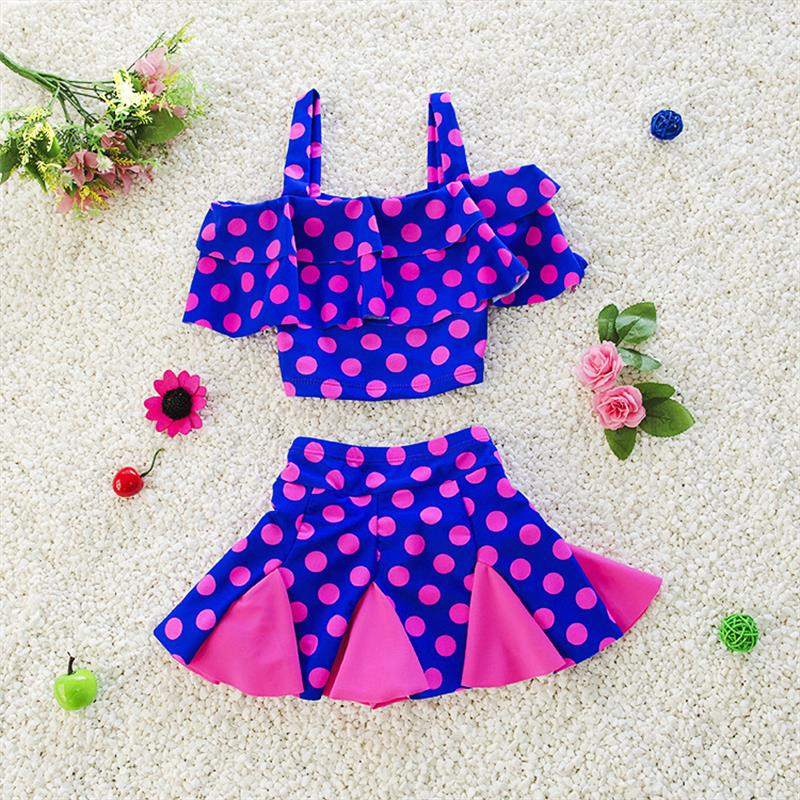 Sweet Design Kids Swimsuit Quality Girls Swimwear Teenagers Two-pieces Blue Pink Dots Ba ...