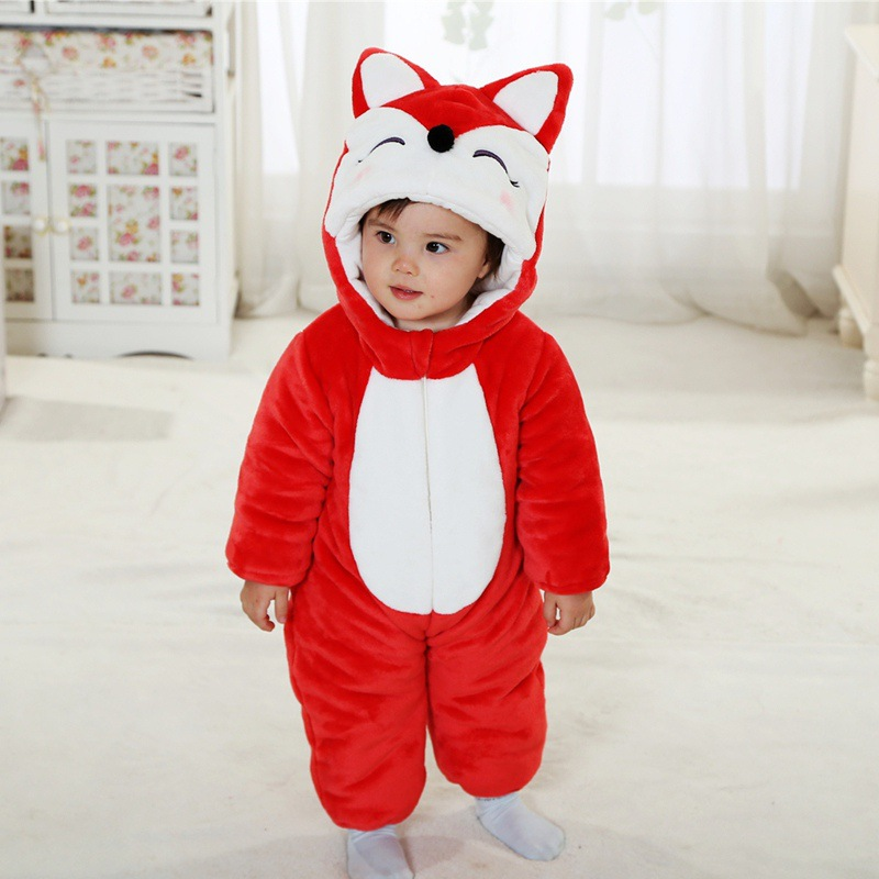 2017 Toddler Infant Newborn Winter Baby Romper Cotton Lining Flannel Halloween Cute Red Animal Fox Baby Clothes Costume infant boys girls newborn winter autumn clothing cute fancy dress toddler costumes onesie novelty outfit baby animal romper