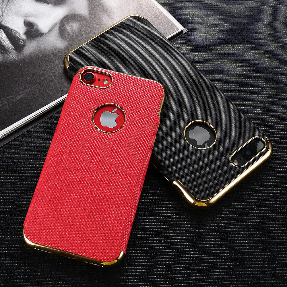 Plating Soft Cases For Iphone 7/7 Plus Gold Black Thin Back Phone Apple Iphone 8 7 Cover Coque Logo Hole