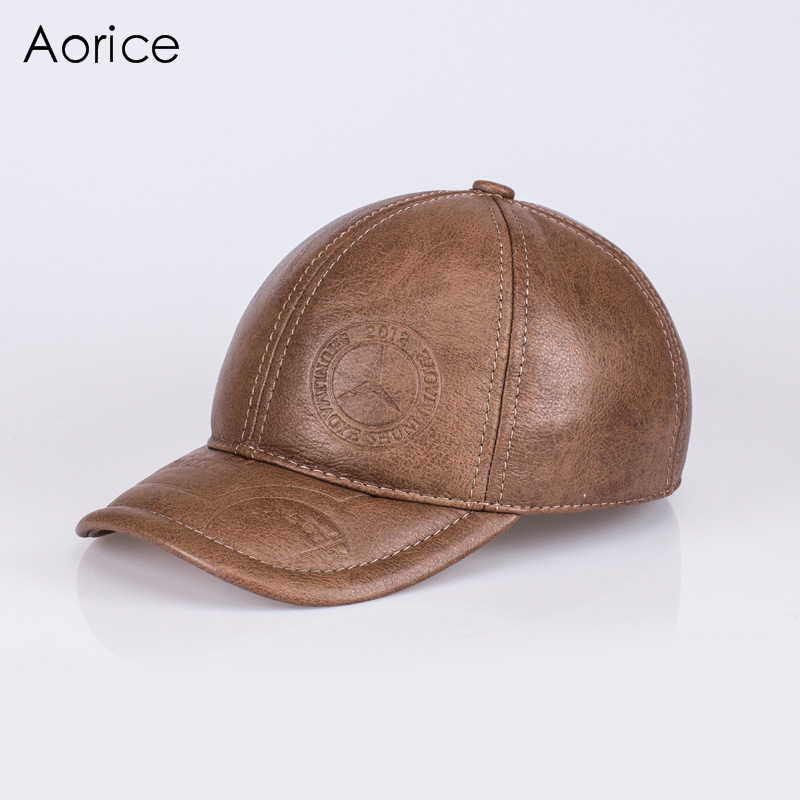 Aorice Autumn Winter Men Caps Genuine Leather Baseball Cap Brand New Men's Real Cow Skin Leather Hats Warm Hat 4 Colors HL131 fashion printed skullies high quality autumn and winter printed beanie hats for men brand designer hats