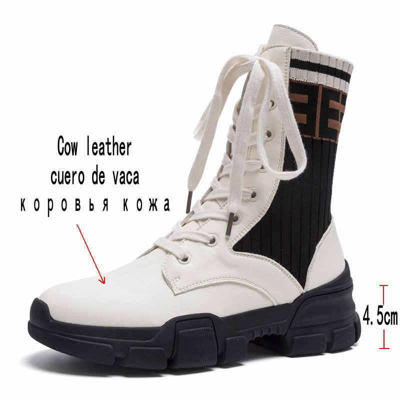 Bao Da chính hãng Người Phụ Nữ Giày Nữ Thời Trang Phẳng Mắt Cá Chân Giày mới Dành Cho Nữ Da Bò Đen Thu Đông Cổ Ngắn Tăng