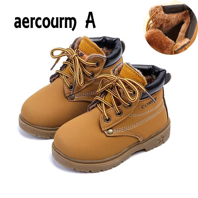 aercourm A Shoes 2016 Winter Girls Boots Boys Plush Children Snow Motorcycle Boots Lace-Up Rome Martin Boots Winter Kids Shoes