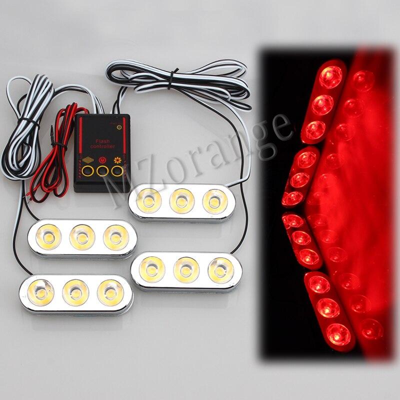 MZORANGE 4 in 1 12 led Car grill styling flash light warning lamp DRL strobe light Emergency fog lamp Police Light driving light