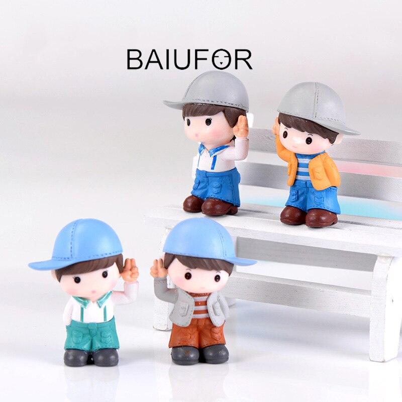 BAIUFOR Miniatures Terrariums People Cute Boy Doll Fairy Garden Miniature Succulents Desktop Decor Plastic Crafts Children Toys