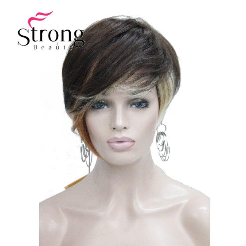 Perruque Blonde brune asymétrique courte mélange de chaleur freindy perruque pleine couleur choix